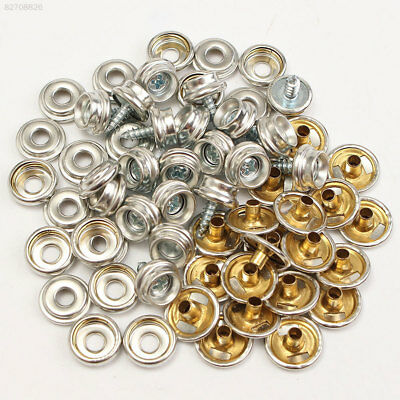 A999 60pcs Silver White Metal Screw Snap Button Craft Baseball Clothing Bolts
