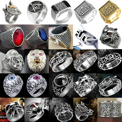 Stainless Steel Steam Men Punk Ring Gothic Rings Cool Skull Men's Jewelry