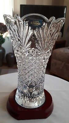 """Gorgeous Bohemian Crystal Crystal Vase 8"""" With Base - Excellent"""