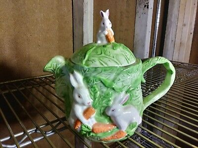 Vintage Ceramic Pottery Decoration Teapot Enchanting Bunny Rabbit Finial
