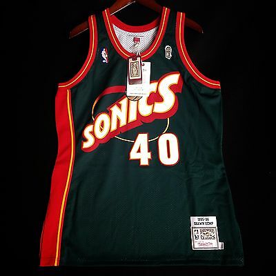 100% Authentic Shawn Kemp Mitchell   Ness Sonics Jersey Size 44 L Large Mens 52ea3c22c