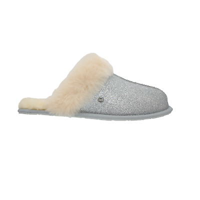 UGG Scuffette II Sparkle Womens Sheepskin Slippers Slides Silver NEW Authentic