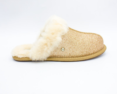 UGG Scuffette II Sparkle Womens Sheepskin Slippers Slides Gold NEW Authentic