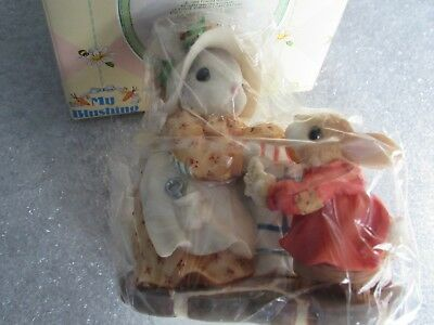 """My Blushing Bunnies  """"a Double Batch Of Blessings""""....1998...enesco...christmas!"""