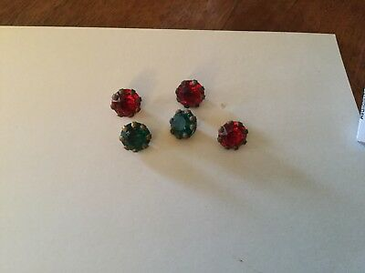 5 Glass Gem Buttons Red & Green Jewel Buttons Vintage