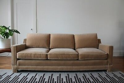 Vintage 1960s Mid Century Square Arm Sofa in Camel Mohair