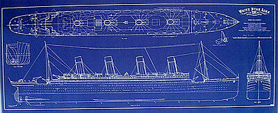 Vintage Ocean Liner RMS OLYMPIC White Star Line Blueprint Plan 16x34  (180)