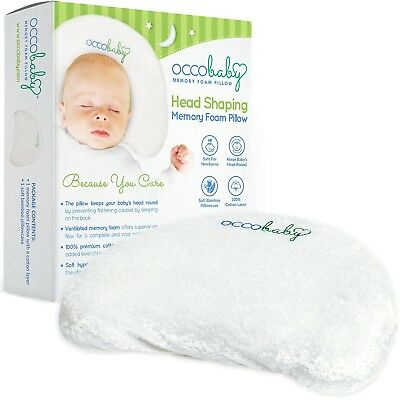 OCCObaby Baby Head Shaping Memory Foam Pillow | Cotton Cover Bamboo Pillowcase