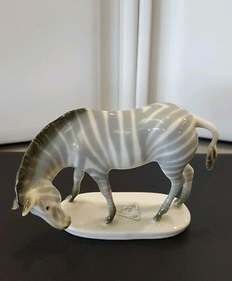 Royal Dux Bohemia Zebra Grazing Figurine