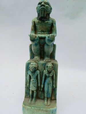 ANCIENT EGYPTIAN ANTIQUE GOD BES Bless King And Queen EGYPT Stone Blue Glazed BC