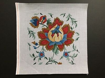 Hand-painted Needlepoint Canvas Beautiful Large Blue & Red Flowers