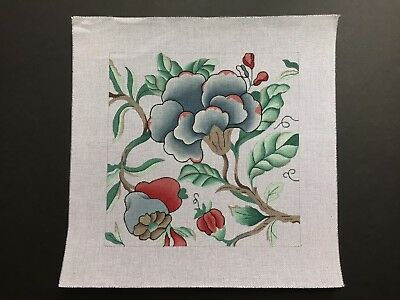 Hand-painted Needlepoint Canvas Large Floral Design in Blue & Red/LAST CHANCE!!!
