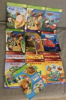 Huge Leapfrog Tag Reader Lot of 13 interactive books, pen, & charging cable