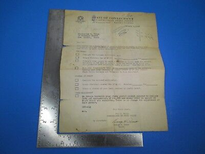 Vintage State of Connecticut Department of State Police Letterhead 1958 S8367