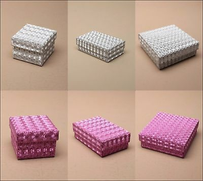 Jewellery Gift Boxes Hologram Card Flocked Pad Wholesale Bulk Silver Pink