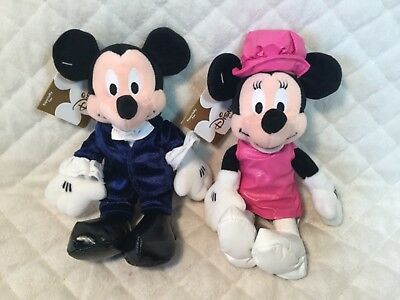 """Disney Store 1960's Groovey Mickey & Minnie Mouse 8"""" Plush NEW WITH TAGS"""