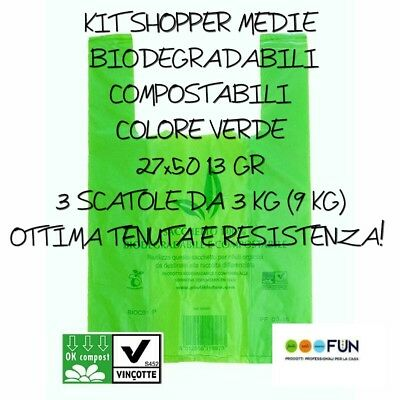 Shopper Plastica Biodegradabile Compostabili Kit Media Buste Resistenti Pesanti
