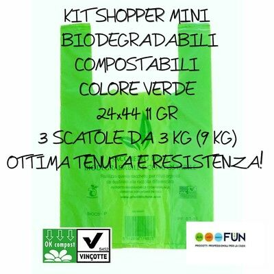 Shopper Plastica Biodegradabile Compostabili Kit Mini Buste Resistenti Pesanti