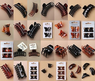 Hair Clamps Claw Clips Unisex Work Sport Everyday Pack 12 Plastic School Fashion