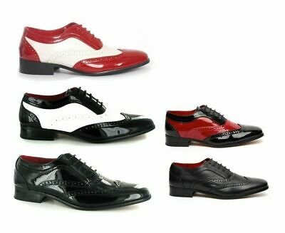Mens Retro Vintage 1940s Spectator Two Tone Black and Red Brogue Gangster Shoes