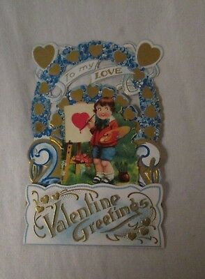 antique Germany Valentine card fold-out/stand-up die cut w/ boy artist painting