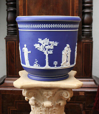 A Large Antique Jasperware Jardiniere in the Manner of Wedgwood