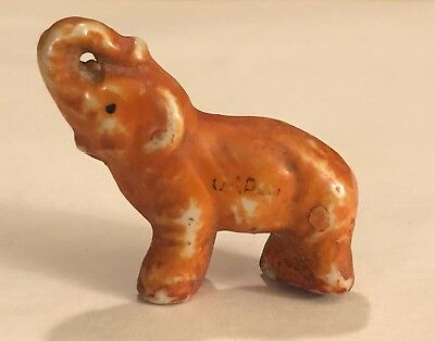 Antique Miniature Ceramic Clay Painted Elephant Marked Japan