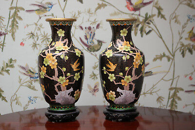 A Beautiful Pair Antique Chinese Cloisonné Gilded Vases, Birds among Blossom