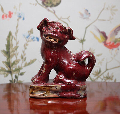 A Fine Antique Chinese Sang de Beouf Glaze Fo Dog