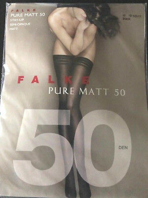 aa9478359 Falke Pure Matte 50 Stay Up Tights Size 10 1 2 11 Colour Black