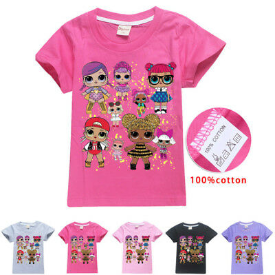 Lol Girls Surprise Doll 100% Cotton T shirts Casual Summer T shirts Tops Clothes