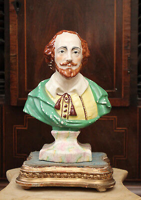 A Fine Antique c19th WILLIAM SHAKESPEARE Staffordshire Bust