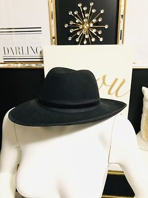 New Without Tags~Isaac Mizrahi~ Black Wool Wide Brim Floppy Hat 965e2ad7f533
