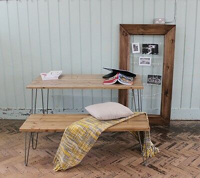 Rustic Vintage Industrial Wood Dining Table With Bench Metal Hairpin Legs