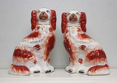 A Good Pair Antique c19th Staffordshire Spaniel Russet and White