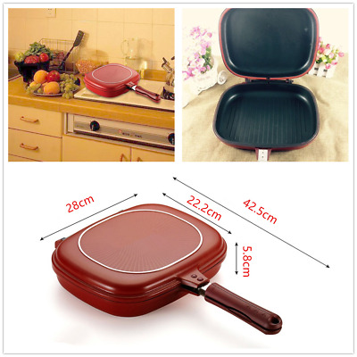 Aluminum Square 2-Side Steak Frypan Non-Stick Fry Pan Pressure Cooking Safe