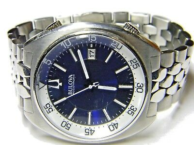 mens Bulova Accutron II date blue white face dress sports watch model 96B209