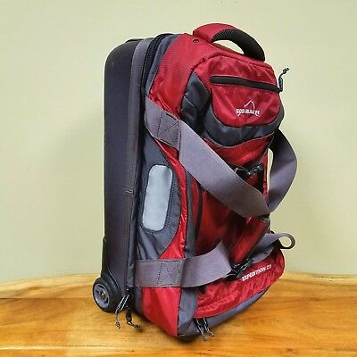 Eddie Bauer Expedition 21 Rolling Luggage Bag Suitcase Carry On Duffle Nylon  Red 42dd95cbbdbb1