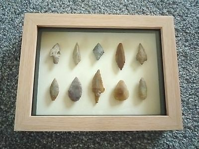 Neolithic Arrowheads in 3D Picture Frame, Authentic Artifacts 4000BC (0802)