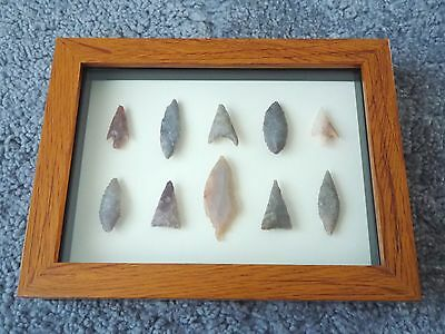 Neolithic Arrowheads in 3D Picture Frame, Authentic Artifacts 4000BC (0145)