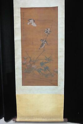 "Very Rare Long Old Chinese Scroll Hand Painting Flowers Birds Signed ""FaChang"""