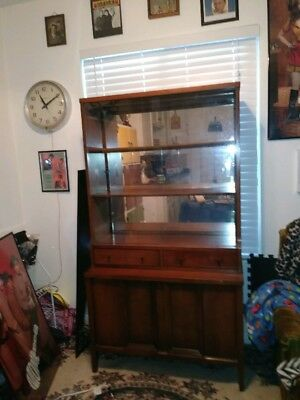 Vintage Mid Century Hutch sliding glass cupboard dining room 60s wooden mirror