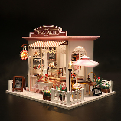 DIY Dollhouse Wooden Miniature Kit Handcraft Doll House Cottage LED Kid's Gift