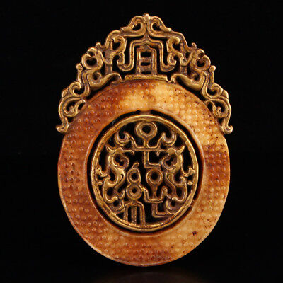 Certified China 100% Natural handcarved hetian old jade dragon plate Pendant
