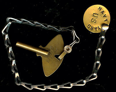 old vintage Chelsea Clock Co Factory Key w/ Chain U.S Navy Yard Brass Tag Fob