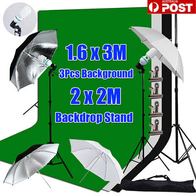 Photo Studio Umbrella Lighting Black White Green Backdrop Background Stand Kit