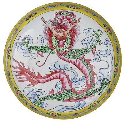 A Chinese Enamel Dragon Decorated Box & Cover
