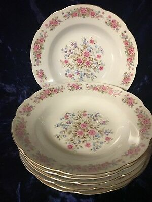 Vintage Remington Fine China by Red Sea Pink Rose 6 Soup Bowls