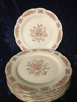 Vintage Remington Fine China by Red Sea Pink Rose 6 Dinner Plates