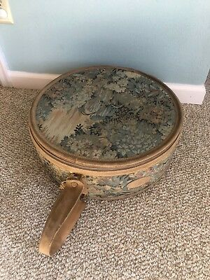 """Vintage 18.5"""" French Luggage Company California Floral Hat Box Suitcase - Great!"""